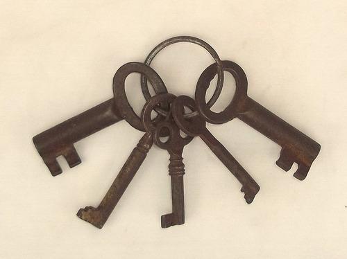 llaves de candados en hierro antiguas muy decorativas huecas