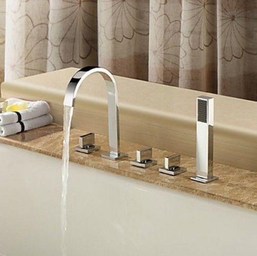 Set llaves y grifo con ducha de mano para tina de ba o 1 for Llaves de bano precios