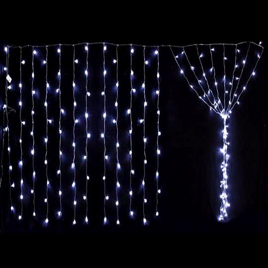 Lluvia de 200 luces led cortina navidad 2x2m blancas for Cortinas con luces