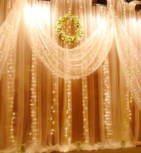 lluvia de luces led 3x3mts cortina 304 led 16 tiras eventos