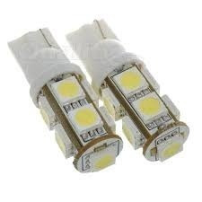 lâmpada 9 leds smd t10 5050 esmagada grande (pingo) / par