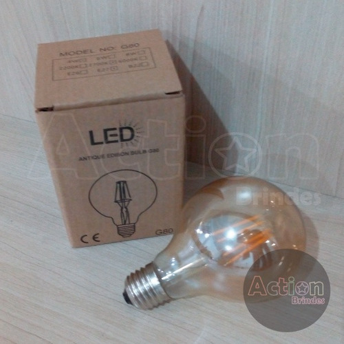 lâmpada bulbo ambar led retrô g80 4w 110v kit 3 unidades