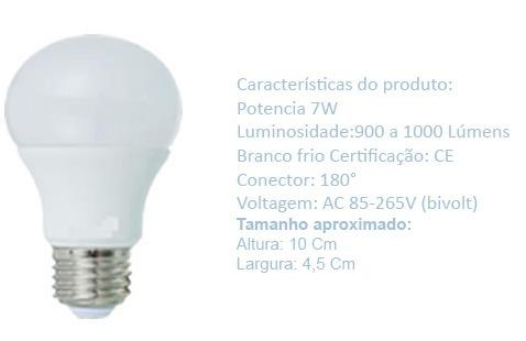 lâmpada bulbo led e27 7 watts branco frio 6.500k