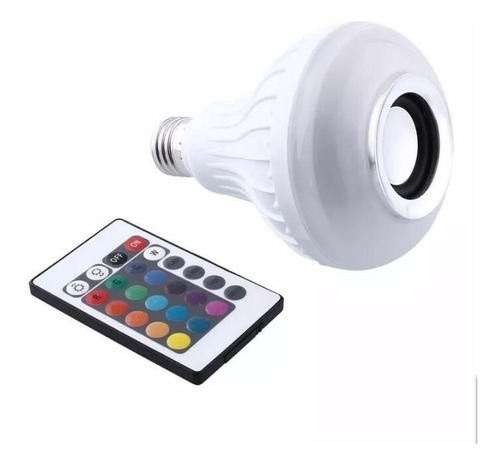 lâmpada colorida rgb 12w toca musica bluetooth controle