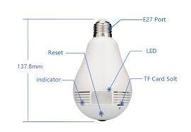 lâmpada espiã câmera ip celular led wifi hd panorâmica 360º