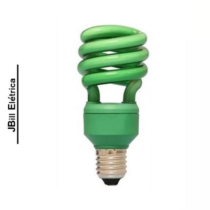 lâmpada espiral colorida 15w 127v e27 verde kit 10 pçs