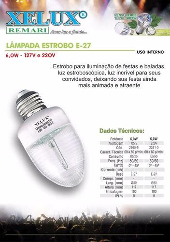 lâmpada estrobo e-27 de 6w 127v - kit com 10 peças