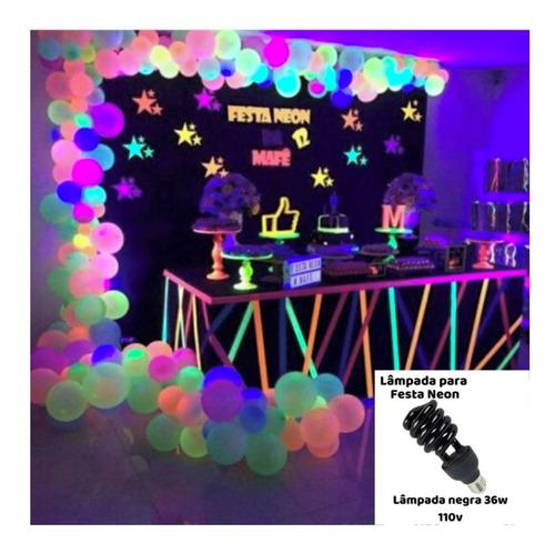lâmpada fluorescente 36w - luz negra efeito neon 110v e220v