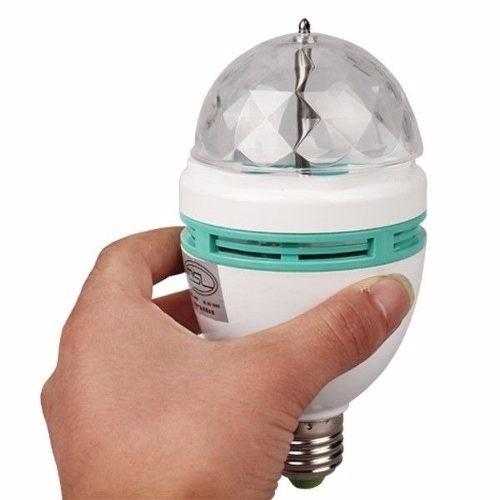 lâmpada giratória led colorido festa + adaptador de tomada
