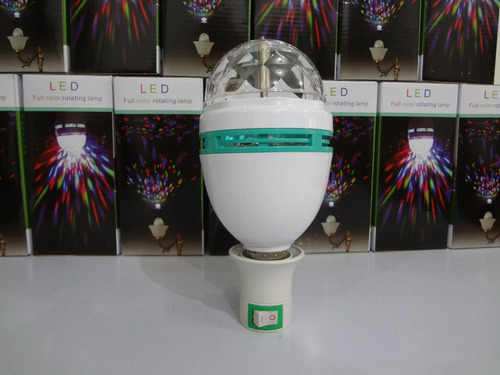 lâmpada giratória led rgb bivolt e27 dj-iluminação e eventos
