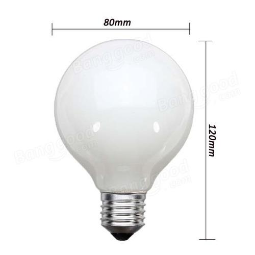 lâmpada incandescente globo leitoso g80 100w 130v e27 5 uni