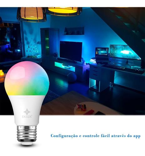 lâmpada inteligente e27 rgbw alexa 100-240v 10w wifi