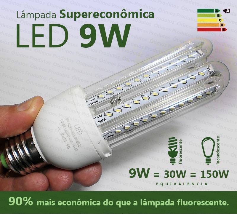 lâmpada led 9w 3u super econômica branca 6000k e27 bivolt - r$ 60,08