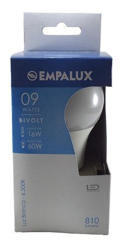 lâmpada led 9w bulbo bivolt empalux base e27 kit com 5