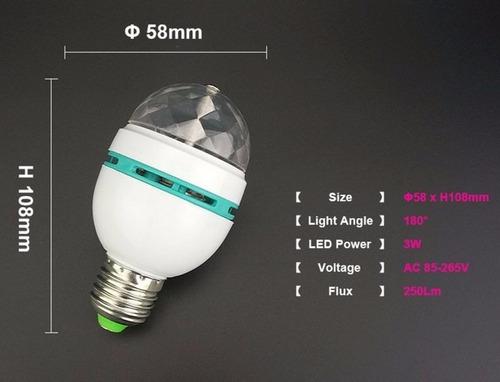 lâmpada led colorido rotativa bola maluca girátória globo