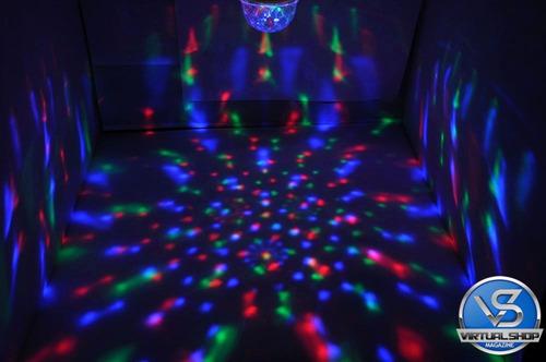 lâmpada led colorido rotativa giratória bola maluca p festa