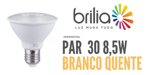 lâmpada led par 30 brilia branco quente 8,5w 301535
