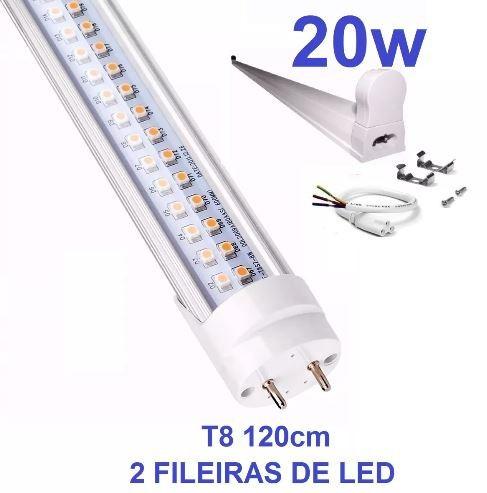 lâmpada led tubular t8 cristal 120cm c/calha completa