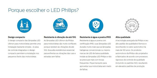 lâmpada led ultinon philips moto hs1 / h4 12v 6000k 130% luz
