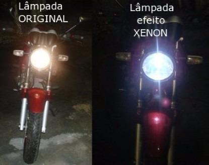 lâmpada moto led efeito xenon h4 titan 150 factor cg fan ybr