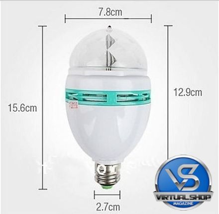 lâmpada rotativa giratória led colorido bola maluca festas