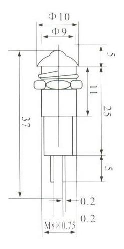 lâmpada sinalizadora olho de boi c/ rabicho amarelo 110v