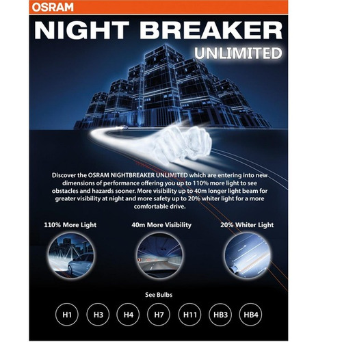 lãmpadas osram h7 night breaker unlimited par farol 110%+luz