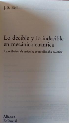 lo decible y lo indecible en mecanica cuantica. j. s. bell.