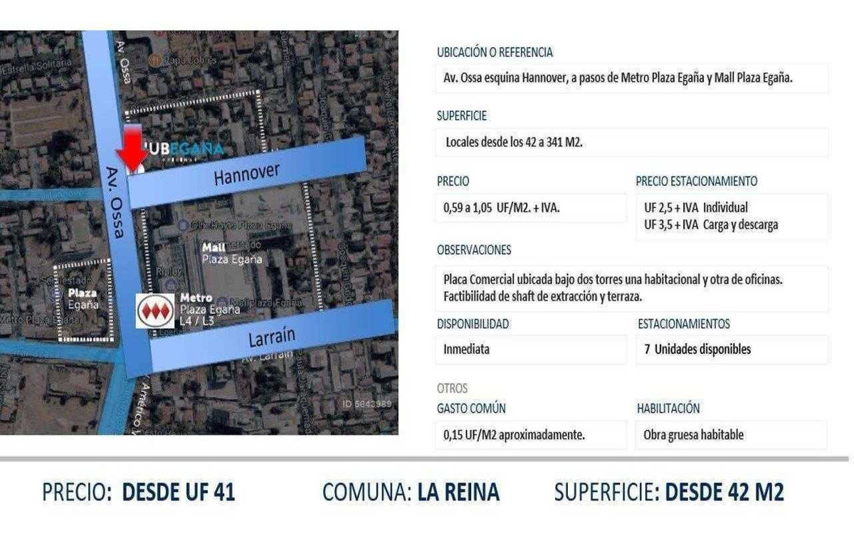 (loc) av ossa, metro plaza egaña, mall plaza egaña