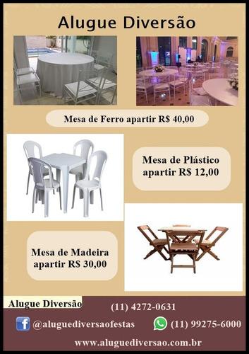 locacao de mesas e cadeiras de ferro plastico madeira