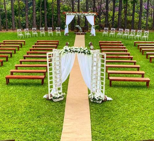 locação aluguel bancos cerimônia madeira rústica casamento