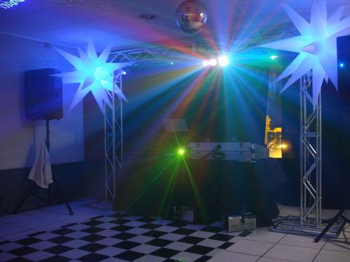 locação de som, iluminação, karaokê, telão e dj para festas.