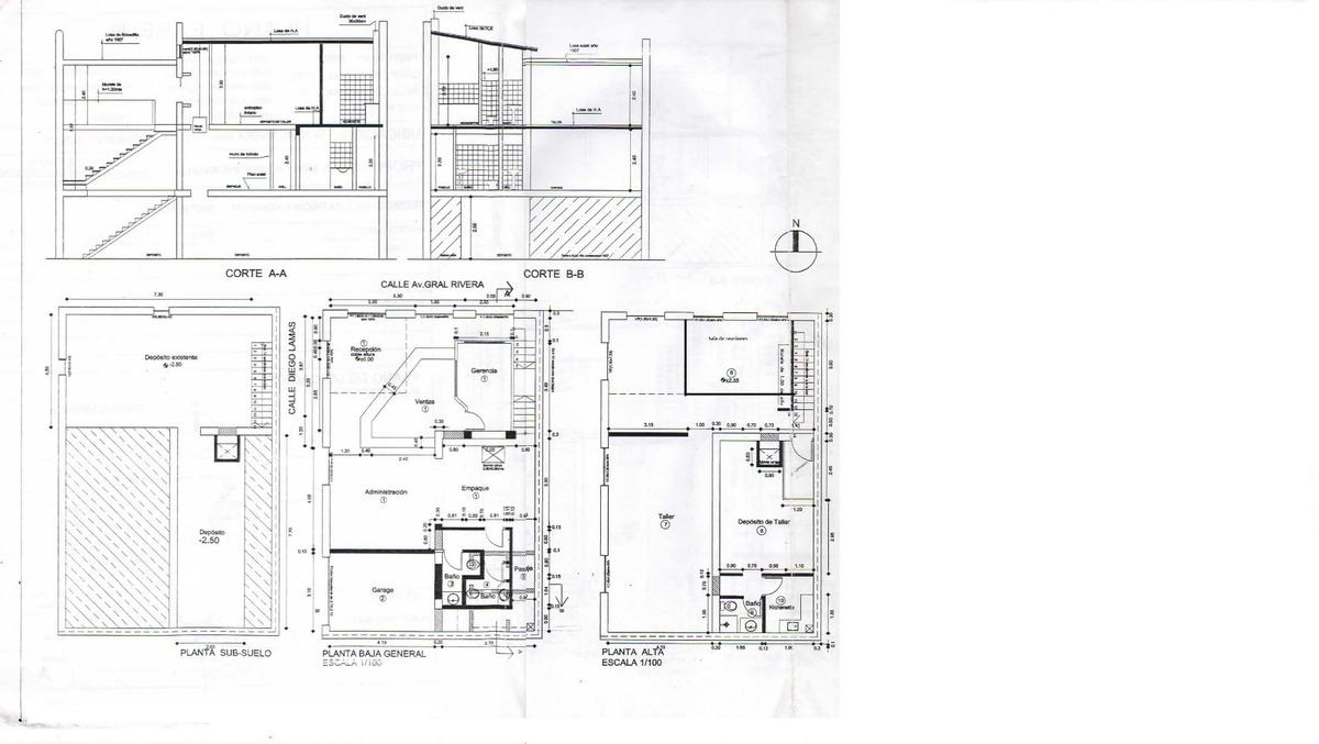 local comercial 2 plantas + subsuelo, garage 3 baños cocina