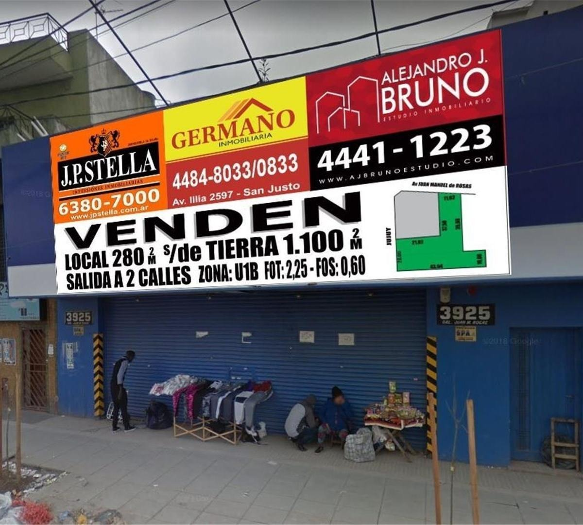 local comercial - 280 m2 + 2 lotes 1100 m2 totales - zona sh