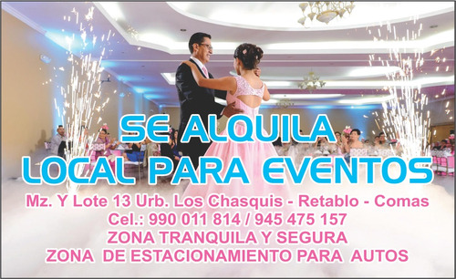 local para eventos y fiestas en comas