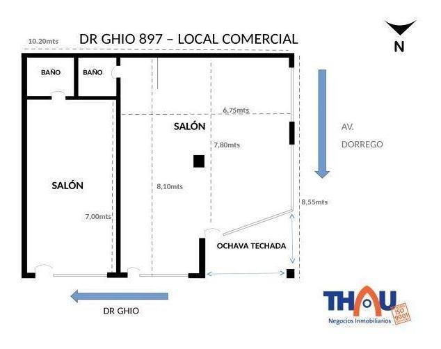 locales comerciales con frentes vidriados, rejas de seguridad y 2 baños. edificados sobre terreno de 10,20 metros de frente al norte por 8,55 metros de frente al oeste, superficie total 90 m2.