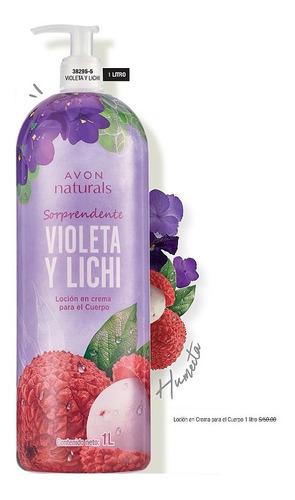 loción crema humectante cuerpo violeta y lichi 1 litro avon