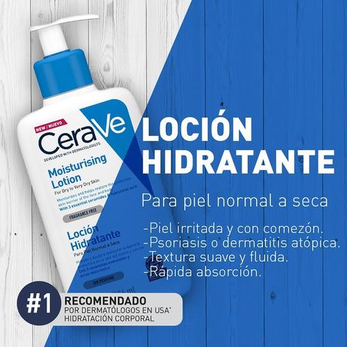 loción hidratante para rostro y cuerpo cerave 237ml seca