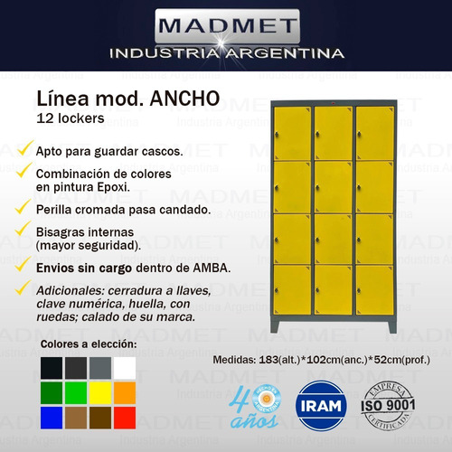 locker metalico 12 casill anchos-pront entrega-zonas gratis