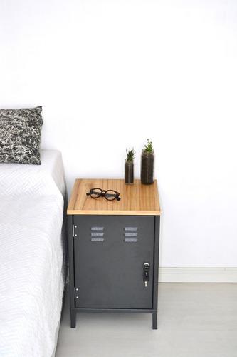 locker tapa paraiso gris, mesa de luz temple