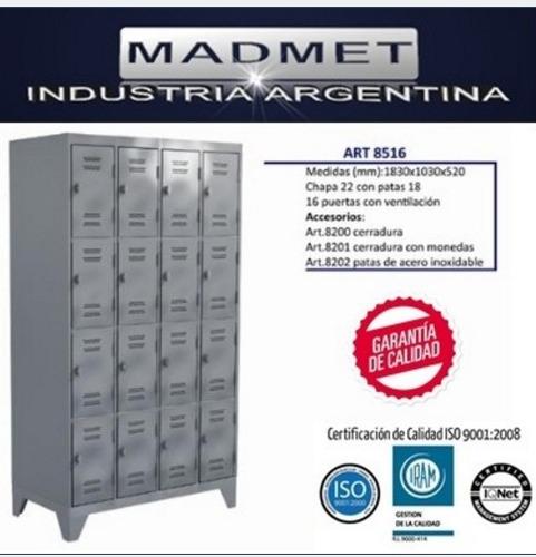 lockers metal 16 puertas unico 52cm prof entrega gratis 72hs