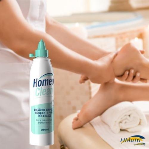 loção de limpeza e emoliência para os pés e mãos homeoclean