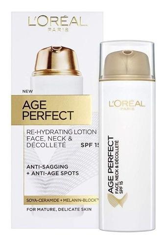loção l'oréal age perfect face, pescoço e decote spf15 50 ml