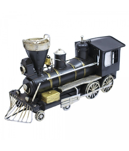 locomotiva trem preto 24 cm retro decoração enfeite metal