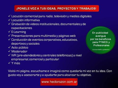 locutor profesional | publicidad | ivr | acto público | off