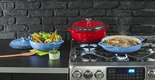 lodge 6 quart horno de hierro fundido esmaltado holandés.