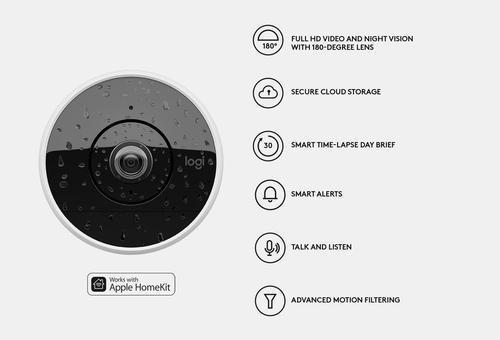 logitech - circle 2 indoor/outdoor 1080p wi-fi home security