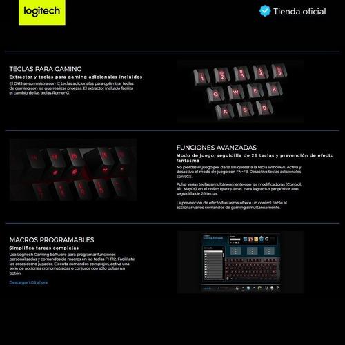 logitech g413 carbón, teclado gamer mecánico retroiluminado