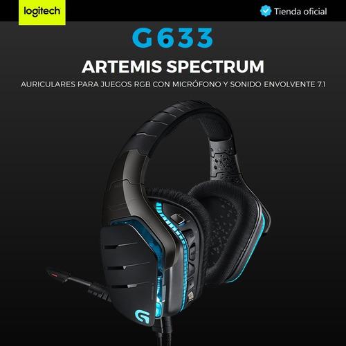 logitech g633 artemis spectrum, diadema gamer rgb sonido 7.1