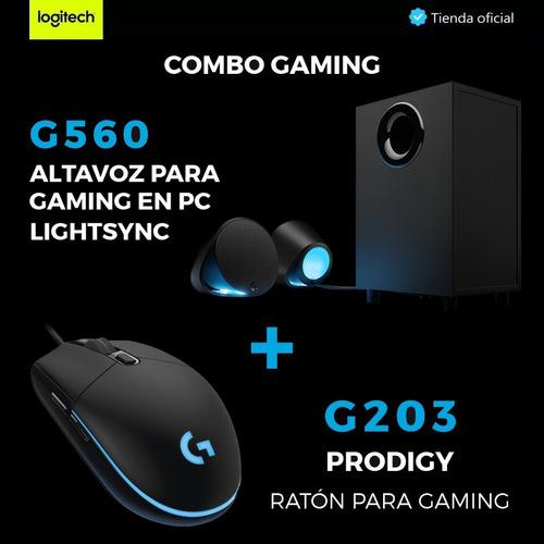 logitech gaming: altavoces g560 lightsync rgb + mouse g203